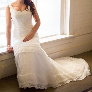 Melissa Sweet Organza Lace and Satin Wedding Dress